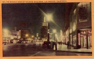 Miracle Mile (1954). Looking east on Wilshire Boulevard. Longshaw linen postcard. Source: Longshaw Postcards.