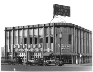 The Western Auto Supply store at the northwest corner of Wilshire and Hauser, circa 1930s. Designed by Carl Lindbom and completed in 1931, it is the current location of a IHOP restaurant.