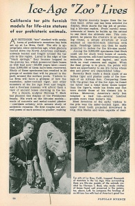 """Ice-Age Zoo Lives"" – Popular Science, March 1944  (Page One)."