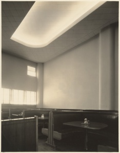 Interior of the White Spot, 5465 Wilshire Boulevard; photograph dated 1937. (Mott-Merge Collection; California State Library)