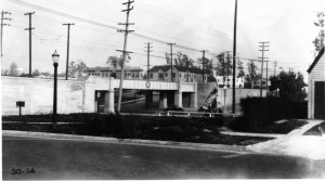 La Brea Avenue-Pacific Electric Railway grade separation at San Vicente Boulevard, looking north along La Brea Avenue. (Automobile Club of Southern California collection; USC Digital Library)