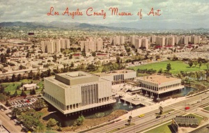 Postcard view of the Los Angeles County Museum of Art, circa 1963, depicting the museum as originally built.