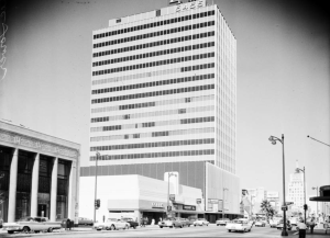 The Lee Tower photographed 14 August 1961. The Lee building on the northeast corner of Wilshire and Dunsmuir.  To the far left is the former Seaboard National Bank Building (now the Korean Cultural Center) which was was designed by Frank Rasche and built in 1929.  (Los Angeles Examiner Collection; USC Digital Library)
