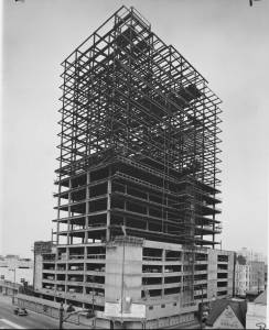 Built by W. Douglas Lee, the 22-story Lee Tower at 5455 Wilshire Boulevard (at Cochran) was the tallest office bulding in Los Angeles at the time of its contruction in 1960. Photograph dated 10 April 1960. (Los Angeles Examiner Collection, 1920-1961; USC Digital Library)