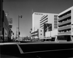 "Looking along Wilshire Boulevard from the intersection of Hauser Avenue, 1959. Note that Orbach's Deparment Store is located in Prudential Square; it would later move to the former Seibu Department Store (now Petersen Museum) at Wilshire and Fairfax. The Van de Camp's restaurant was the largest in the chain.  (""Dick"" Whittington Photography Collection, 1924-1987; USC Digital Library)"