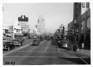 Photograph looking east along Wilshire Boulevard from Cochran Avenues. Photograph dated 1939  taken from top deck of Wilshire Boulevard Bus. (Automobile Club of Southern California; USC Digital Library)