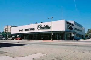 Lou Ehler's Cadillac, 2005. Opened in 1955, the Lou Ehlers showroom, 5151 Wilshire Boulevard, was designed by the noted firm of Stiles O. Clements & Associates. Floor-to-ceiling plate glass windows gave passing motorists and pedestrians unobstructed views of the showroom floor, while the use of Cadillac's logo for immense script signage on the building's exterior attracted customers from afar. The building was one of the three most significant postwar auto showrooms remaining in Los Angeles, along with Casa de Cadillac in Sherman Oaks and Felix Chevrolet near the University of Southern California's University Park campus. Despite intensive advocacy efforts to save it, the dealership was demolished in 2008. (Caption and photograph courtesy of the Los Angeles Conservancy)