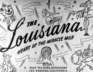 The Louisiana Club operated at the former Wilshire Bowl for about a year (1941) before Slapsy Maxie's began operation at this location.