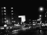 Night time view of the May Company at Wilshire Boulevard and Fairfax Avenue, 1949.