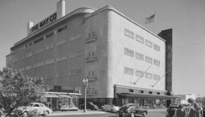View of Fairfax Avenue side of the May Company, circa 1940s. (Huntington Library Digital Library)