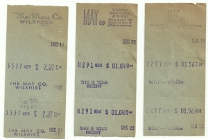 May Co. Wilshire store receipts, 1949. (eBay)