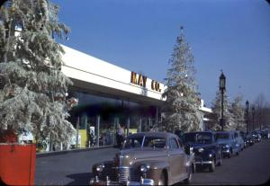 Christmas season view of the May Company Annex, circa 1940s. The annex fronted on Wilshire Boulevard, just east of the main store. It  was demolished after the Los Angeles Museum of Art acquired the May Company property and is the present location of the Broad Contemporary Art Museum.