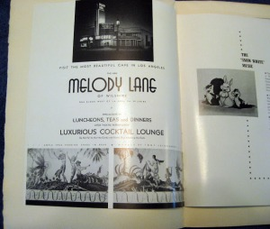 "Melody Lane ad from ""Snow White"" premiere program, 1937. Walt Disney's ""Snow White"" premiered at the Carthay Circle Theare in 1937. This advertisement appeared in a special program published for the event."