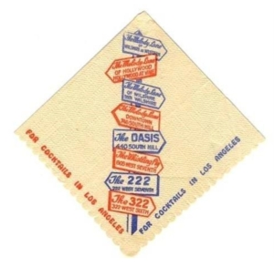 Melody Lane cocktail napkin, circa 1945. (eBay)