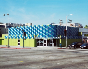 View of the former Tilford's restaurant and cocktail lounge at La Brea Avenue and Wilshire Boulevard. After use as a Metro Customer Service Center it is slated for demolition in June 2015 to make way for the La Brea/Wilshire subway portal. The art installation on the exterior of the building is by artist Jim Isermann was removed prior to demolition. (Metro)