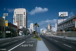 Looking west along Wilshire toward the Dominguez-Wilshire building (on left) at the intersection of Cloverdale.