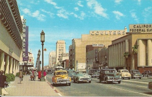 "Linen finish postcard of Wilshire Boulevard looking east, circa 1950s. Note the Orbach's sign on left. Orbach's was originally located in the Prudential Square complex. The block housing the California Federal Bank building later became the site of the ""Cal Fed"" skyscraper."