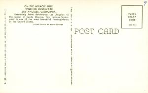 """Wilshire Boulevard"" Postcard (back). circa 1960."