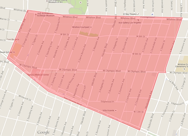 Boundaries of the Miracle Mile Residential Association