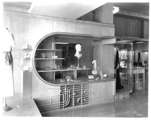 Interior view of Myer Siegel and Company store, circa 1933. Myer Siegel was a high-end women's clothing store located in the Dominguez Wilshire Building. (Mott-Merge Collection; California State Library)