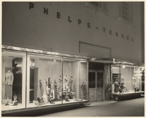 Nighttime view of Phelps Terkel display windows, circa 1936. (Mott-Merge Collection; California State Library)