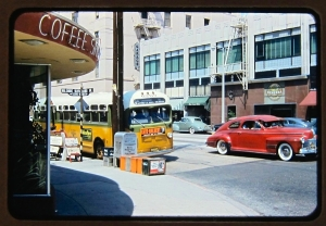 View from the entrance of Tilford's Restaurant and Coffee Shop on the northwest corner of Wilshire and La Brea. Photo circa 1951.