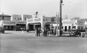 "Intersection of Olympic Boulevard and South La Brea Avenue, 1931. (""Dick"" Whittington Photography Collection; USC Digital Library)"