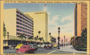 """On the Miracle Mile"" Prudential Square  postcard, circa 1950s."