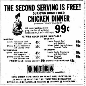Ontra Cafeterias ad, Van Nuys Valley News, August 17, 1965.