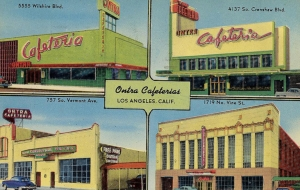 Ontra Cafeterias was a small chain of popular cafeterias. The Miracle Mile restaurant was located at 5555 Wilslhire Blvd. (which is currently occupied by Smart & Final).