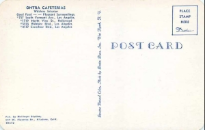 Ontra Cafeteria postcard (back), circa 1950. (James H. Osborne Photograph Collection; California State University Domingues Hills Digital  Collections)