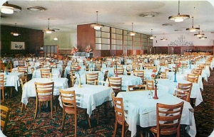 Interior view of the Ontra Cafeteria; postcard (front), circa 1950. (James H. Osborne Photograph Collection; California State University Domingues Hills Digital  Collections)