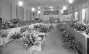 "Interior of Seaboard National Bank, located at 5501 Wilshire Boulevard (at Dunsmuir), on opening day, 1930, (""Dick"" Whittington Photography Collection, 1924-1987; USC Digital Library)"