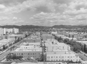 Panoramic view looking north from Wilshire and Cloverdale. (William Reagh Collection; Los Angeles Public Library)