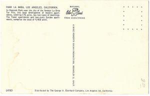 Park La Brea postcard (back), circa 1950. (eBay)