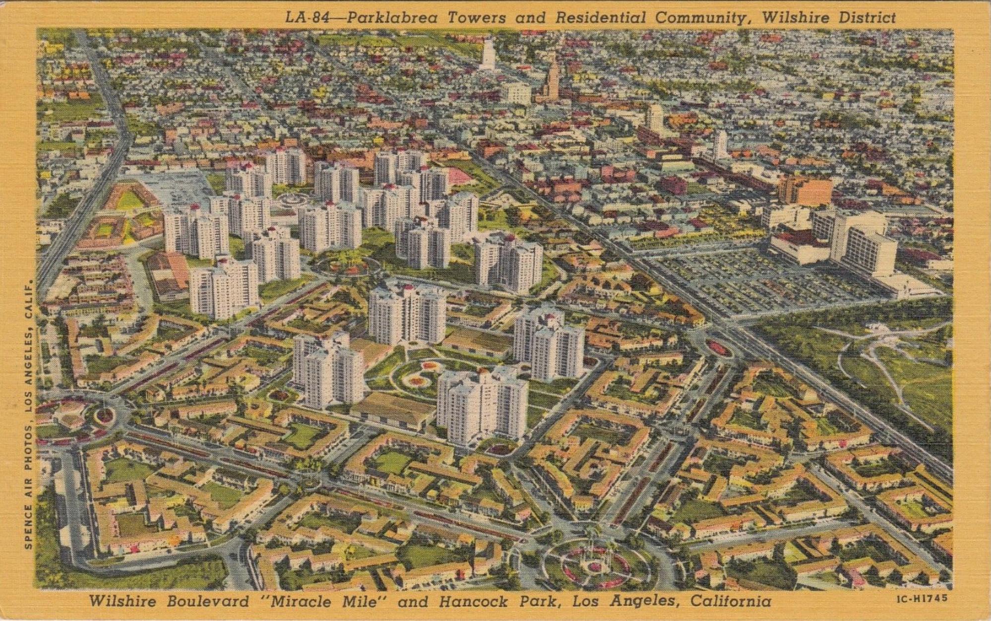 park la brea postcard circa 1950 miracle mile residential