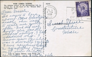 Park La Brea Towers postcard (back), 1958