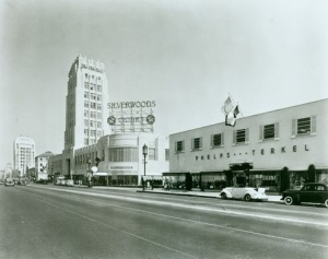 Phelps Terkel store (right), circa 1947. (Los Angeles Public Library)