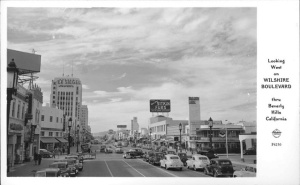 Postcard looking west along Wilshire, 1947 (Pomona Public Library.)