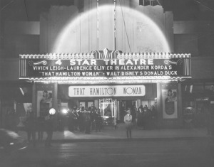 "Premiere night of ""That Hamilton Woman,"" with Vivien Leigh and Laurence Olivier, at the Four Star Theatre at 5112 Wilshire Boulevard, 1941. (Herald-Examiner Collection; Los Angeles Public Library)"