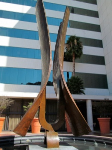 """Primavera"" sculpture by Aristedes Demetrios at SAG-AFTRA Square, Demetrios was commissioned by Prudential Insurance (the orginal owners of the building) to design the 35 foot tall bronze fountain in 1971."