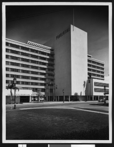 Photographed in February 1952 by the renowned architectural photographer, Julius Schulman, the western headquarters of the Prudential insurance company was designed by the Beckett Weldon firm. The building, located at Curson and Wilshire, is now known as SAG-AFTRA Square. (USC Digital Library.)