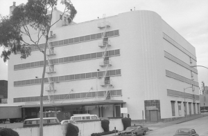 Rear of Broadway Department Store (formerly Coulter's), circa 1970. All of the major department stores in the Miracle Mile featured large parking lots at the rear of the buildings.