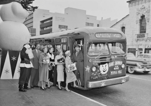 The bus has stopped on Wilshire across from the original Ralph's supermarket.