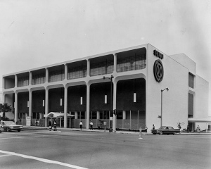 View of the Seibu department store at the southeast corner of Wilshire and Fairfax, circa 1962.