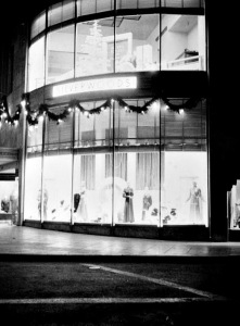 Nighttime view of the Silverwood's display window on the west end of the Desmond's building, circa 1940s.