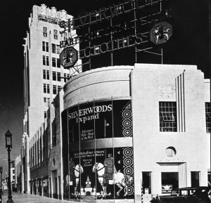 Silverwood's store, circa 1930. The signage in the window promotes the opening of the new store. (Security Pacific National Bank Collection; Los Angeles Public Library)
