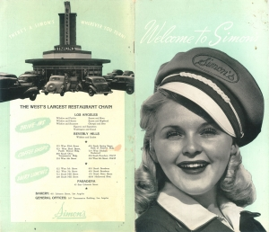 Back and front covers of a Simon's Drive In restaurant menu; circa 1950s.