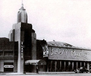 Slapsy Maxie's nightclub as it originally looked when it first opened at the former location of the Wilshire Bowl, circa 1943. (Los Angeles Public Library)