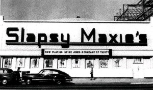 Another view of Slapsy Maxie's after their post World War II remodeling, circa 1947. For a fascinating history on the nighclub see: http://latimesblogs.latimes.com/movies/2011/12/a-hollywood-history-lesson-did-mickey-cohen-really-own-slapsy-maxies-nightclub-.html